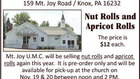 Mt. Joy U.M.C. - Nut Rolls & Apricot Roll - Pre-Orders Taken Until Oct. 31