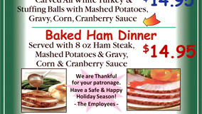 Plaza Restaurant - Christmas Day Dinner Specials to Go
