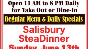 Bob's Place Sunday Specials - Salisbury Steak - June 13th - BBQ Ribs or Chicken - June 20th