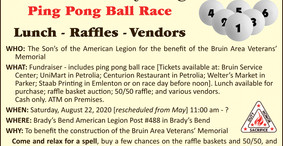 Fundraiser: Ping Pong Ball Race - Sat. August 22nd - Get Your Tickets Now