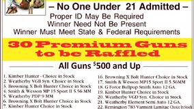 Parker City VFD - Sportsmen's Night - 30 Gun Raffle - Nov. 6th