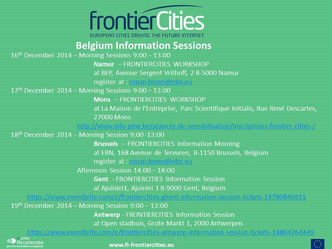 frontierCities – Belgium Tour