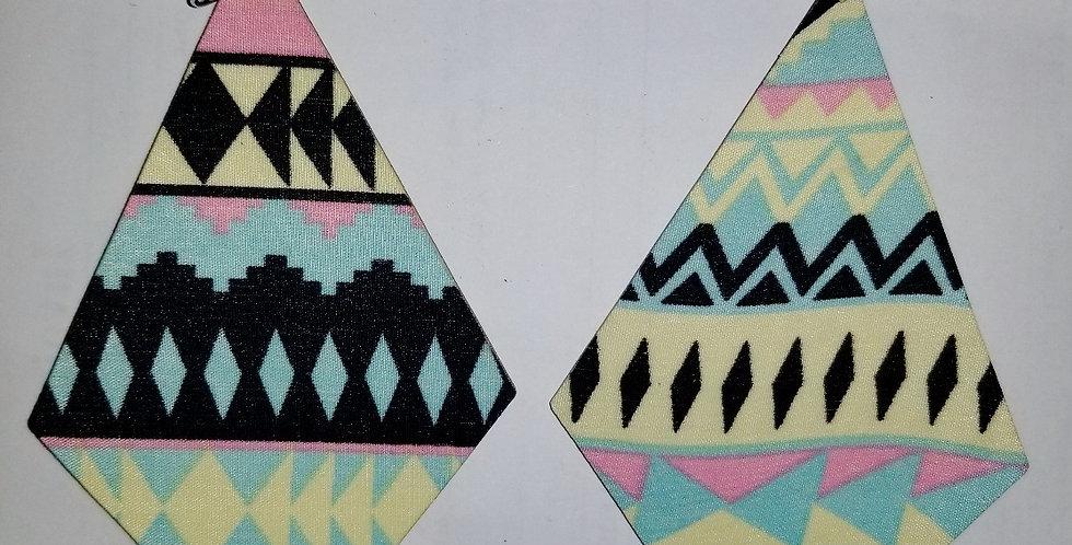 Polygon Wooden Fabric Earrings