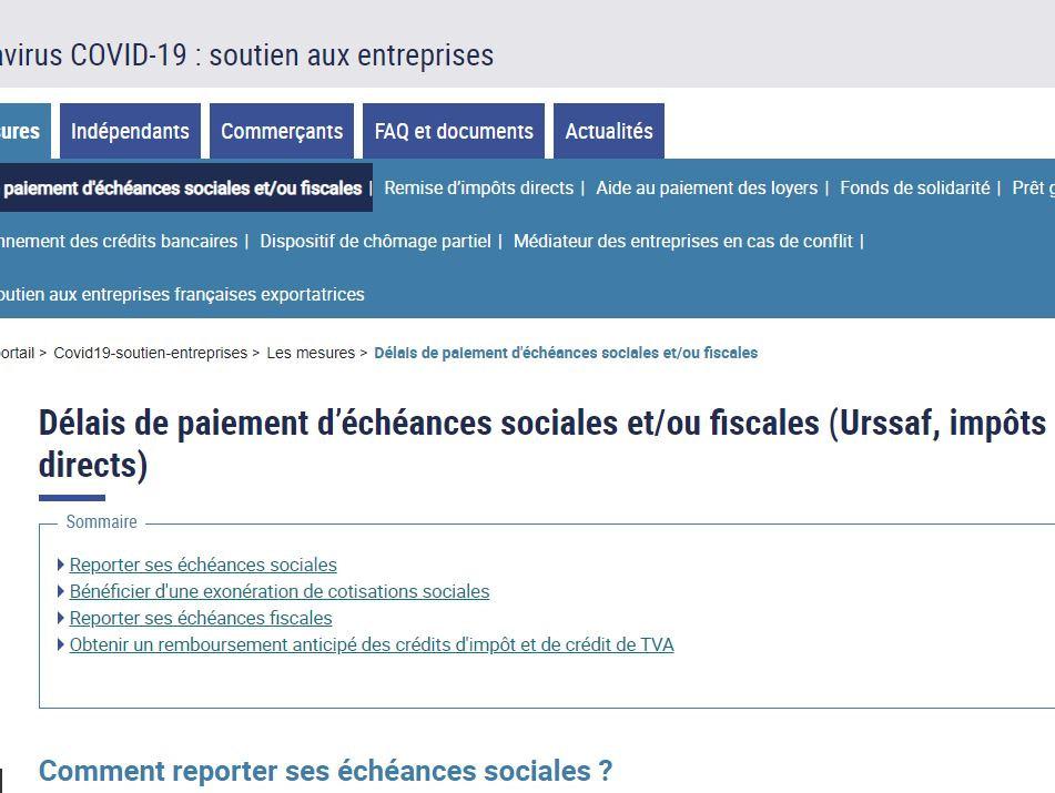 Délais de paiement d'échéances sociales et/ou fiscales (Urssaf, impôts directs)