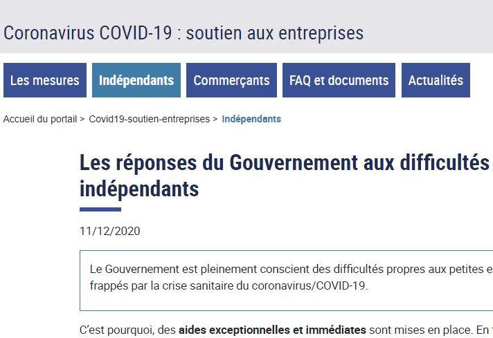 Les réponses du Gouvernement aux difficultés rencontrées par les indépendants