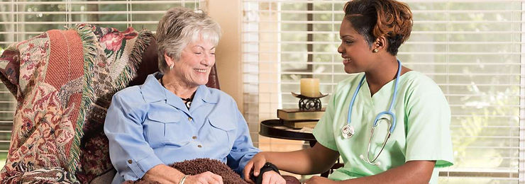 Home healthcare worker with client