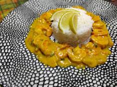 Crevettes curry au lait de coco