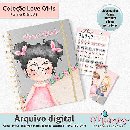 Coleção Love Girls - Planner Diário A5 - Arquivo Digital