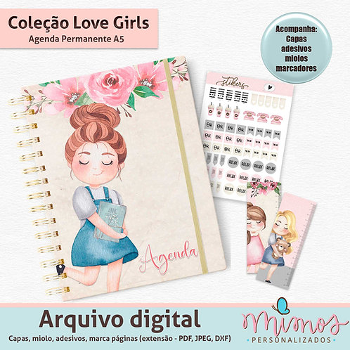 Coleção Love Girls - Agenda Permanente A5 - Arquivo Digital