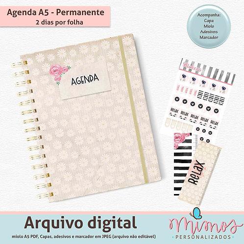 Agenda Permanente Basic A5 - 2 dias por folha