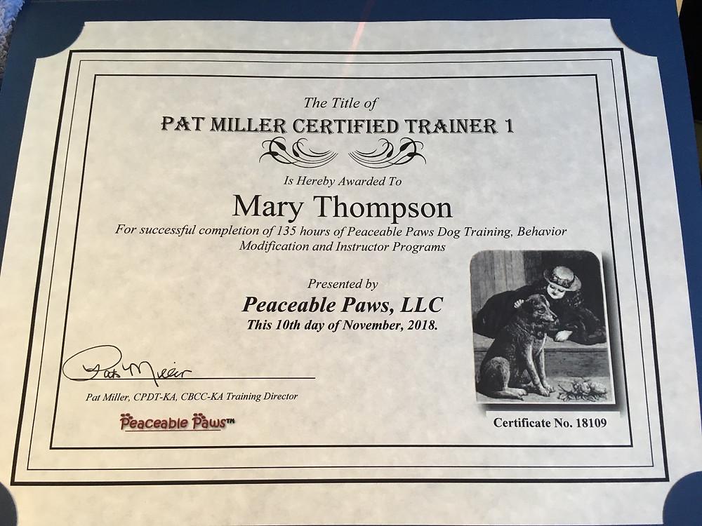 Pat Miller Certified Trainer