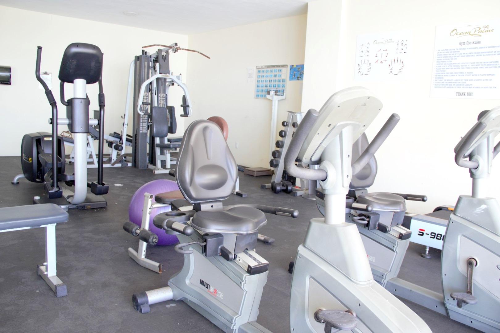 Ocean Palms gym on main floor, overlooking the pool area.