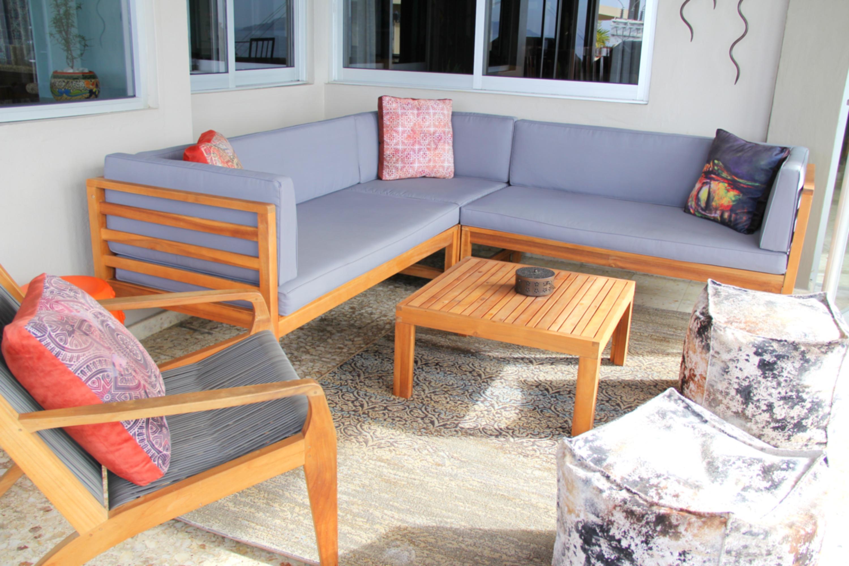 Exterior furniture on patio.