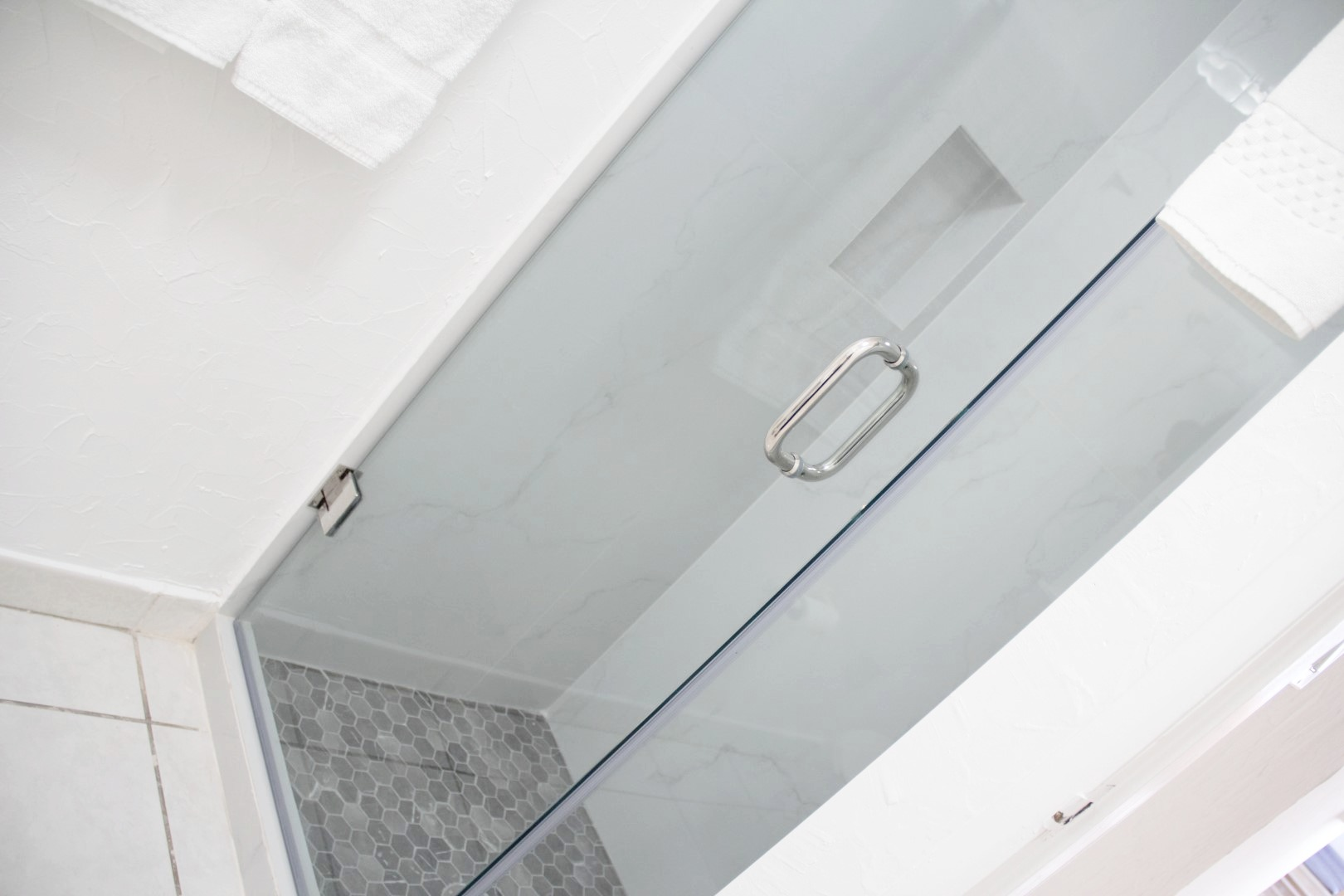 Newly renovated shower in second bathroom.