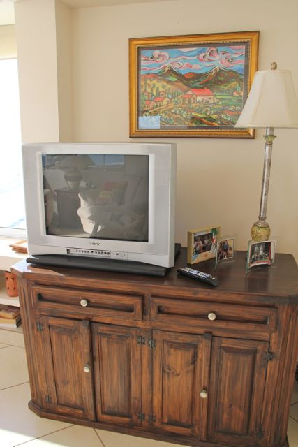 TV with cable and DVD player.