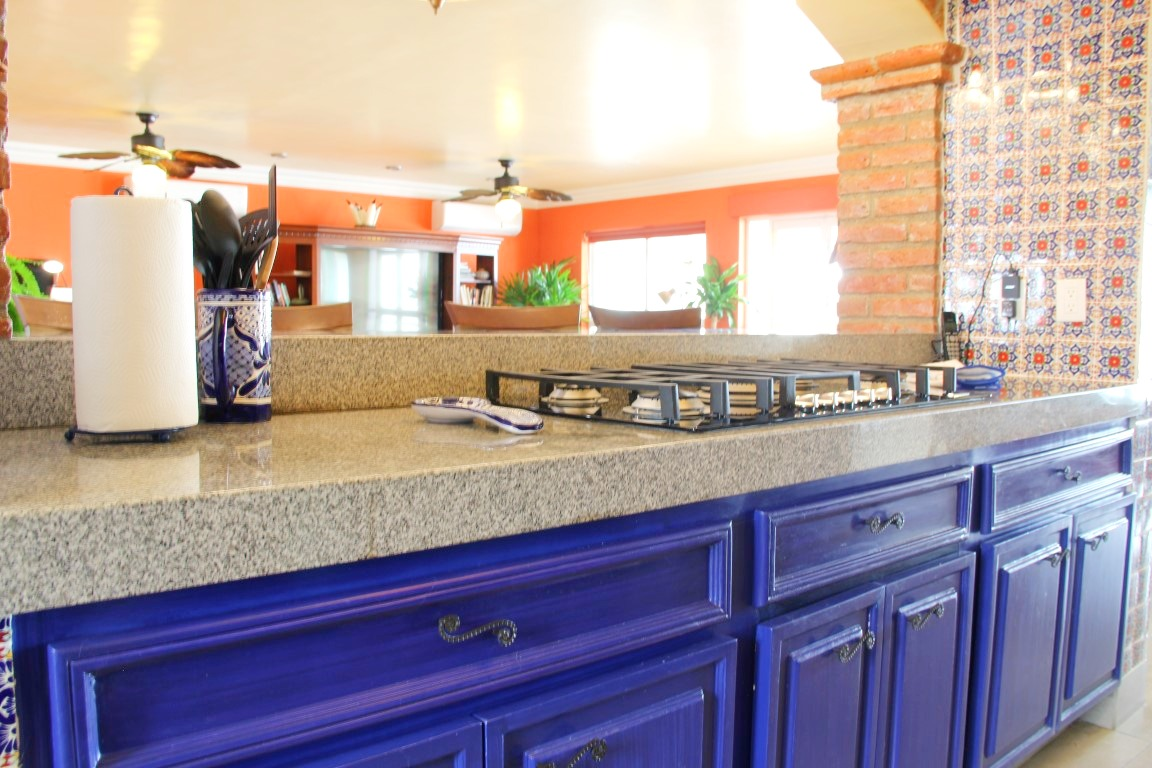 Granite countertops and breakfast bar.