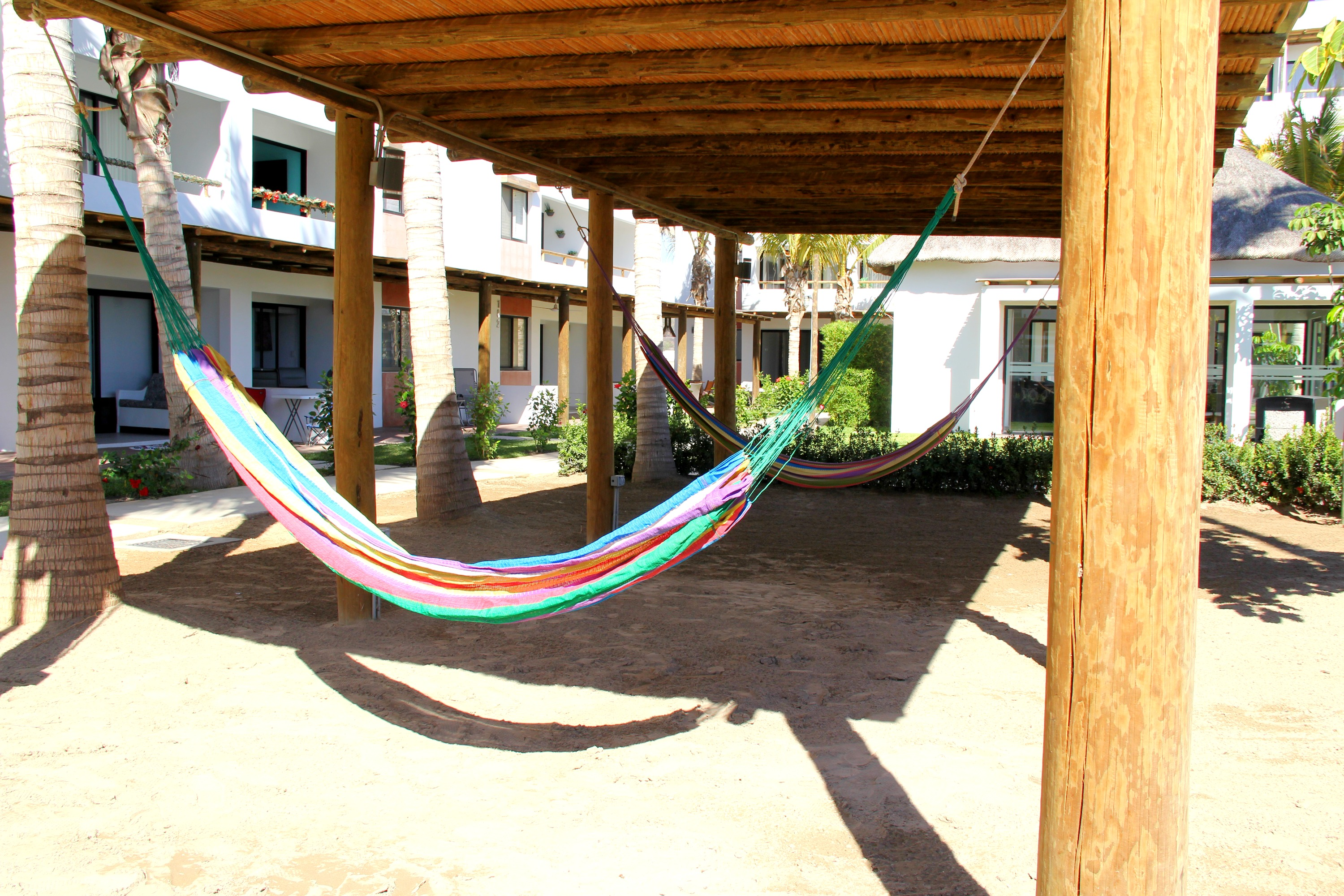 Shaded hammocks.