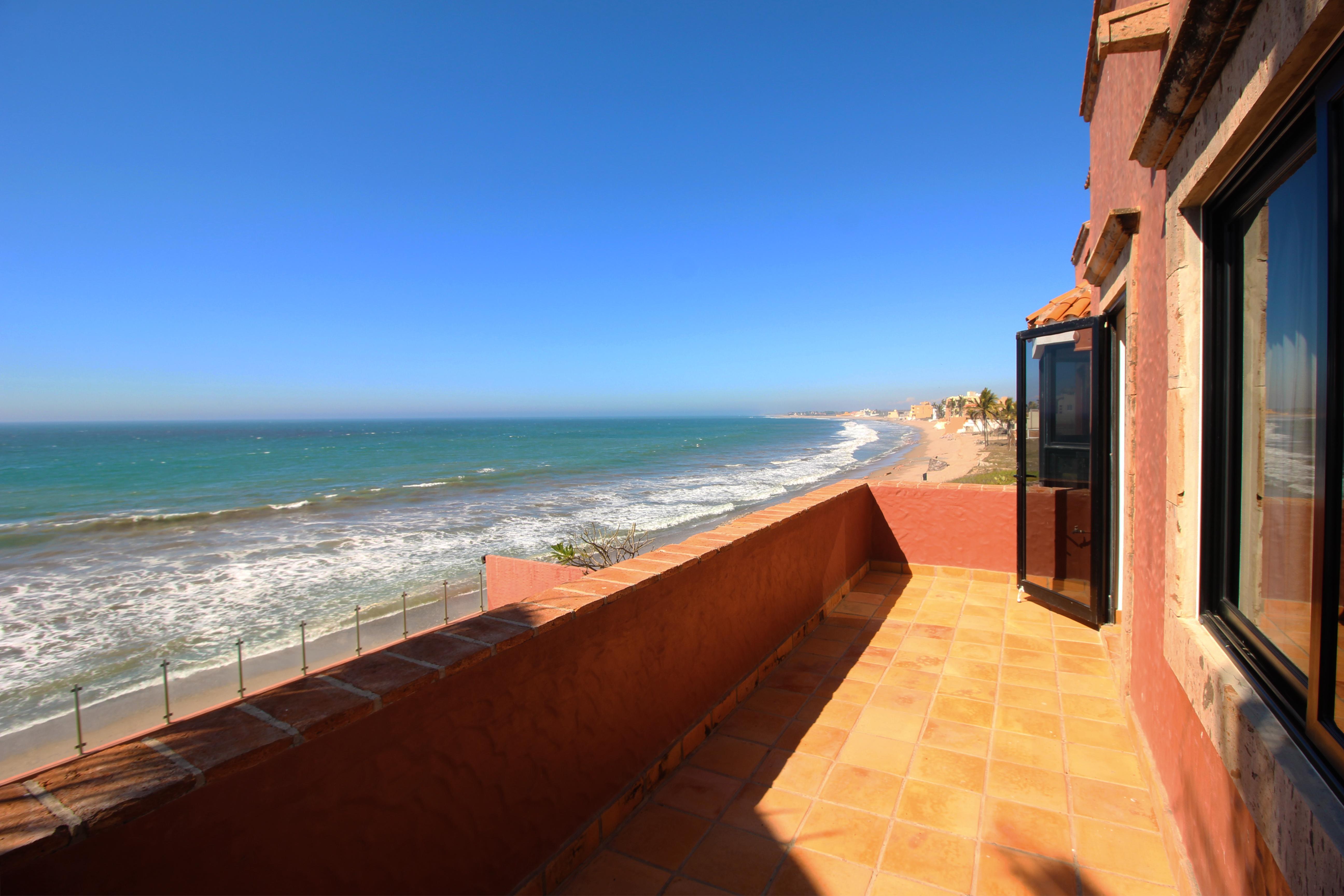 Second floor balcony with ocean views.