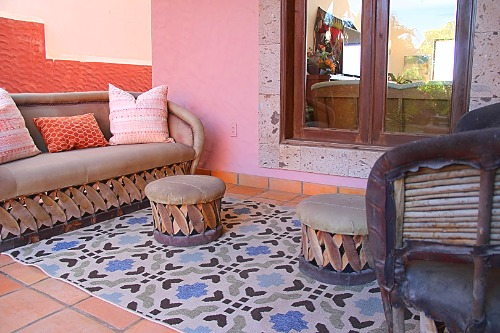 Outdoor seating with Mexican style seating.