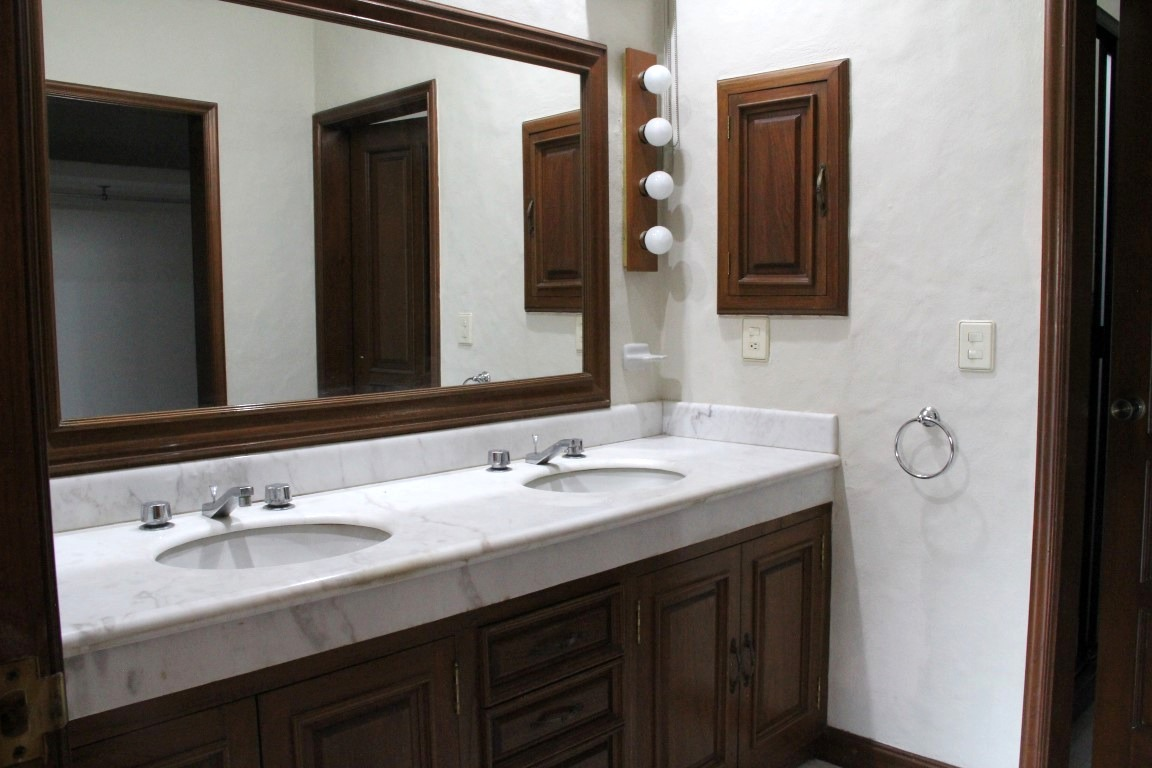 Master ensuite with double vanity.