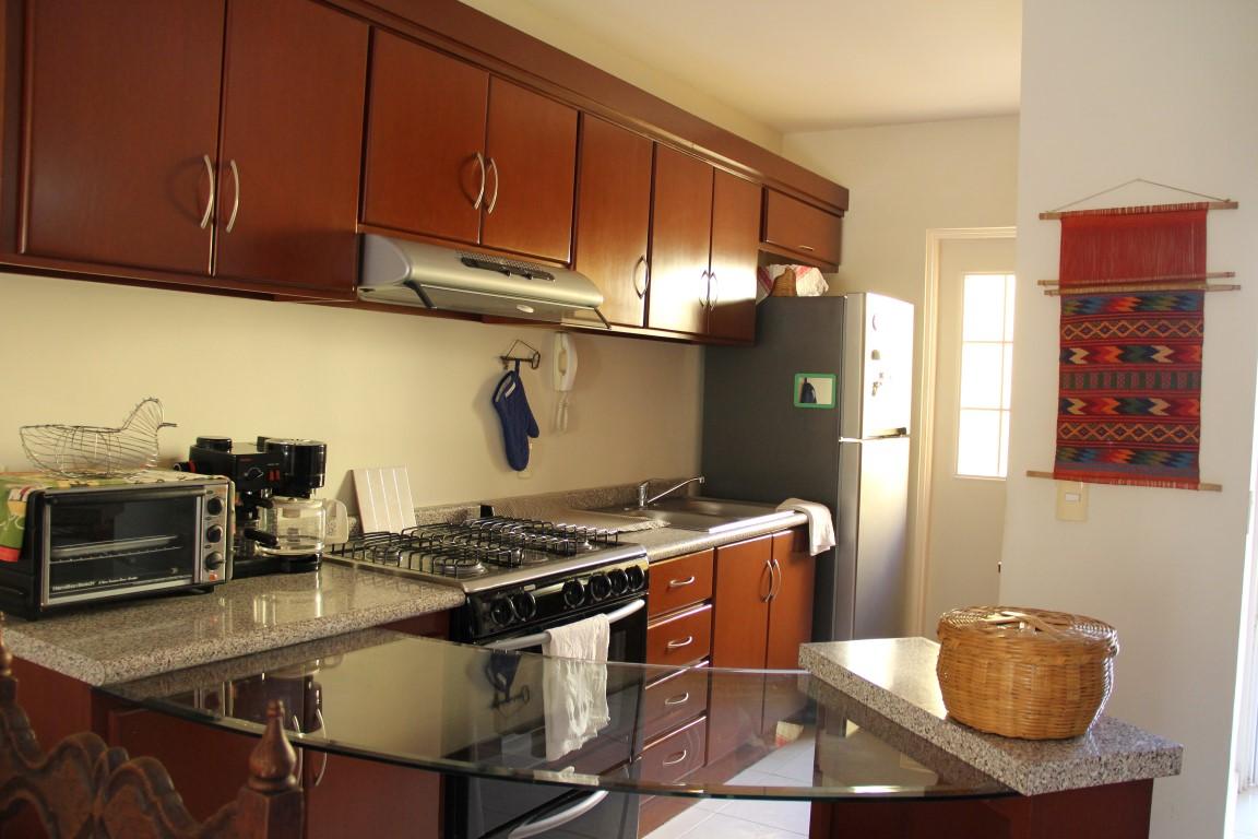 Galley style kitchen.