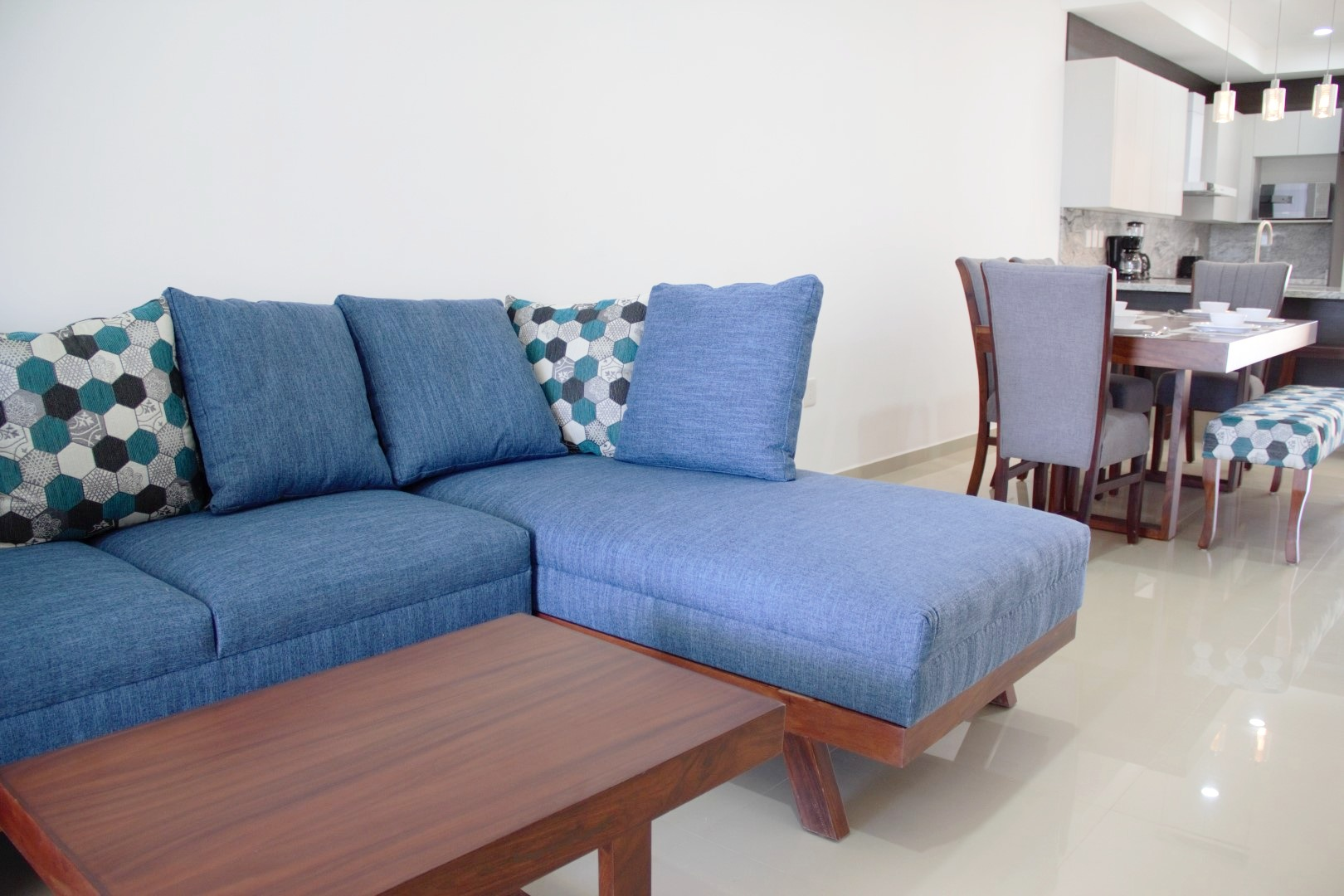 Sectional sofa and coffee table.