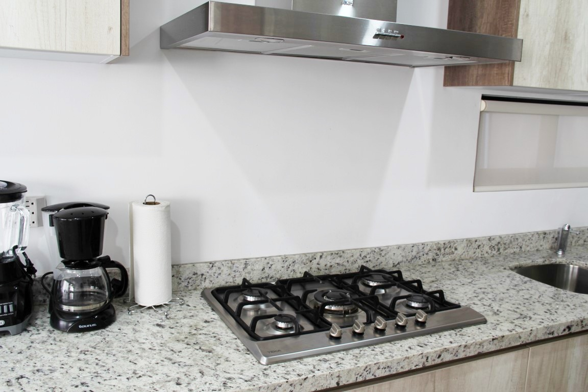 Gas stove and small appliances.