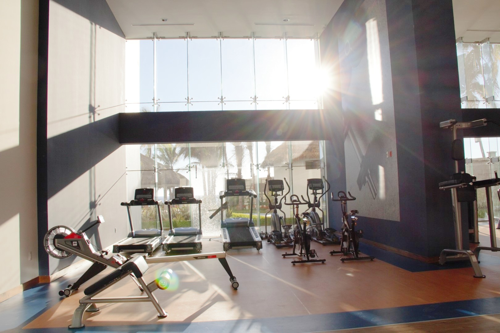 Cardio area in gym.
