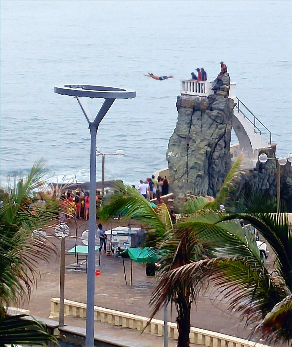 Cliff diver as seen from the balcony
