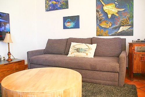 Sitting room with sofa-bed and TV on second level.