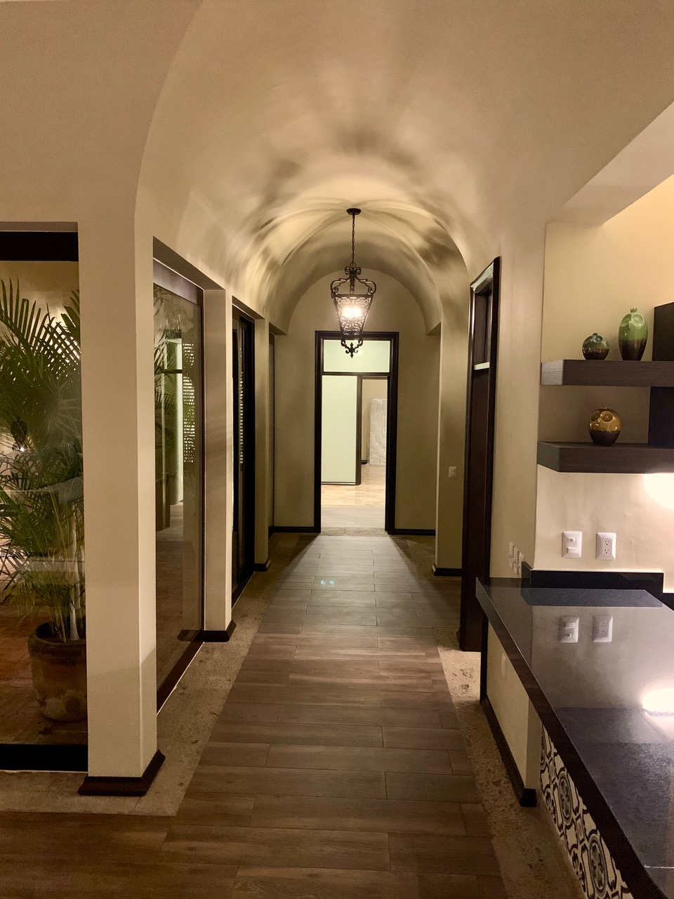 Hallway to bedrooms at night.