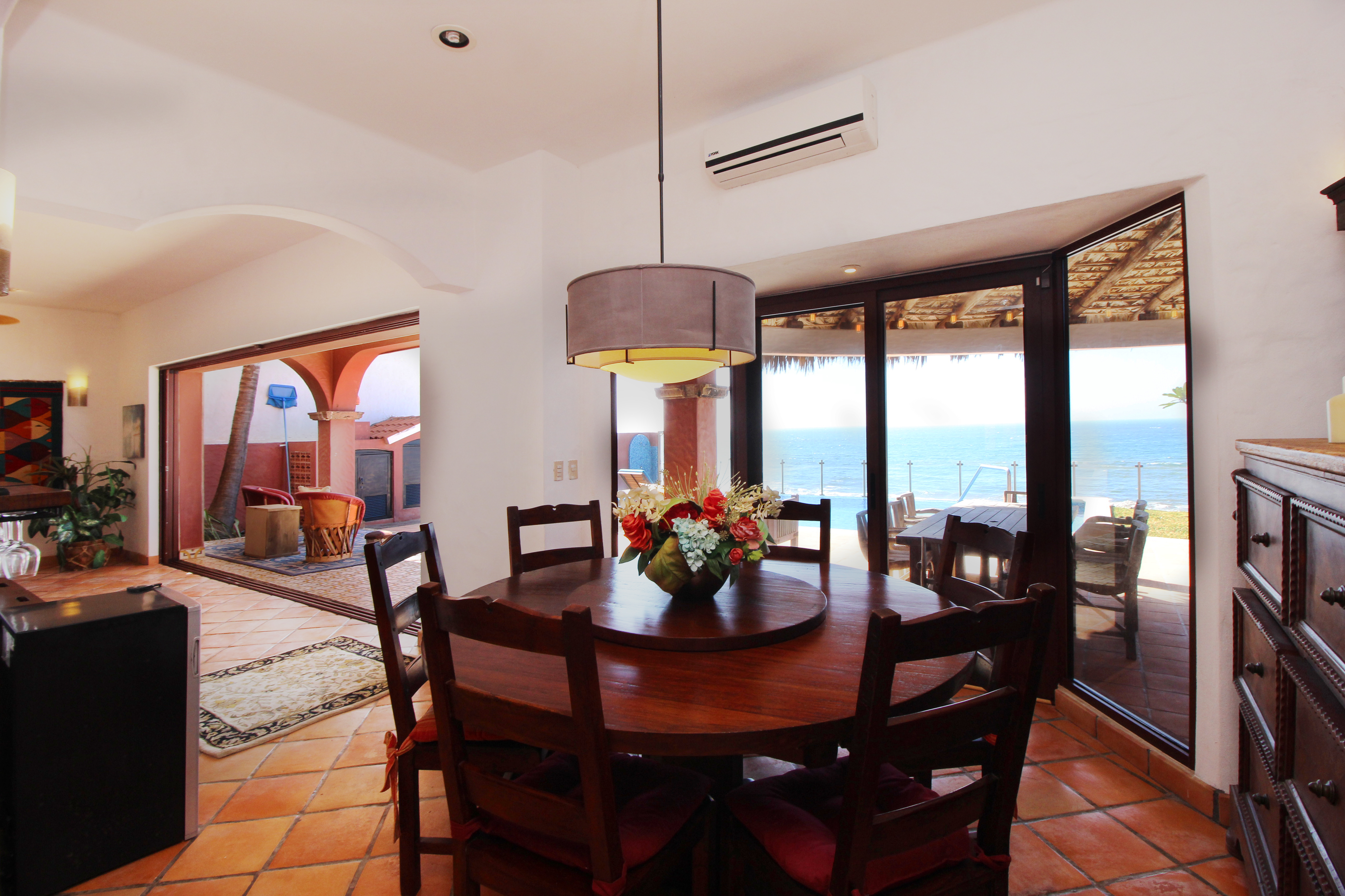 Dining table with ocean views.