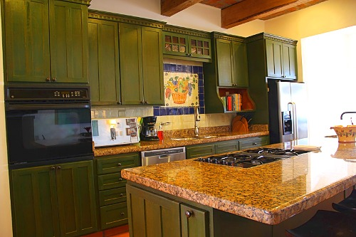 Complete kitchen with large island.