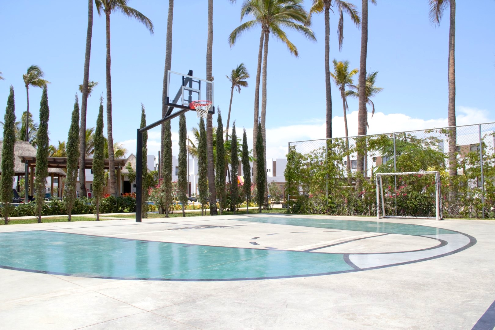 Basketball and soccer court.