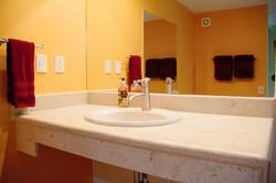 Large vanity in master bathroom.