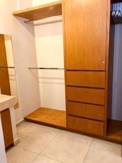 Closet space with locking door.