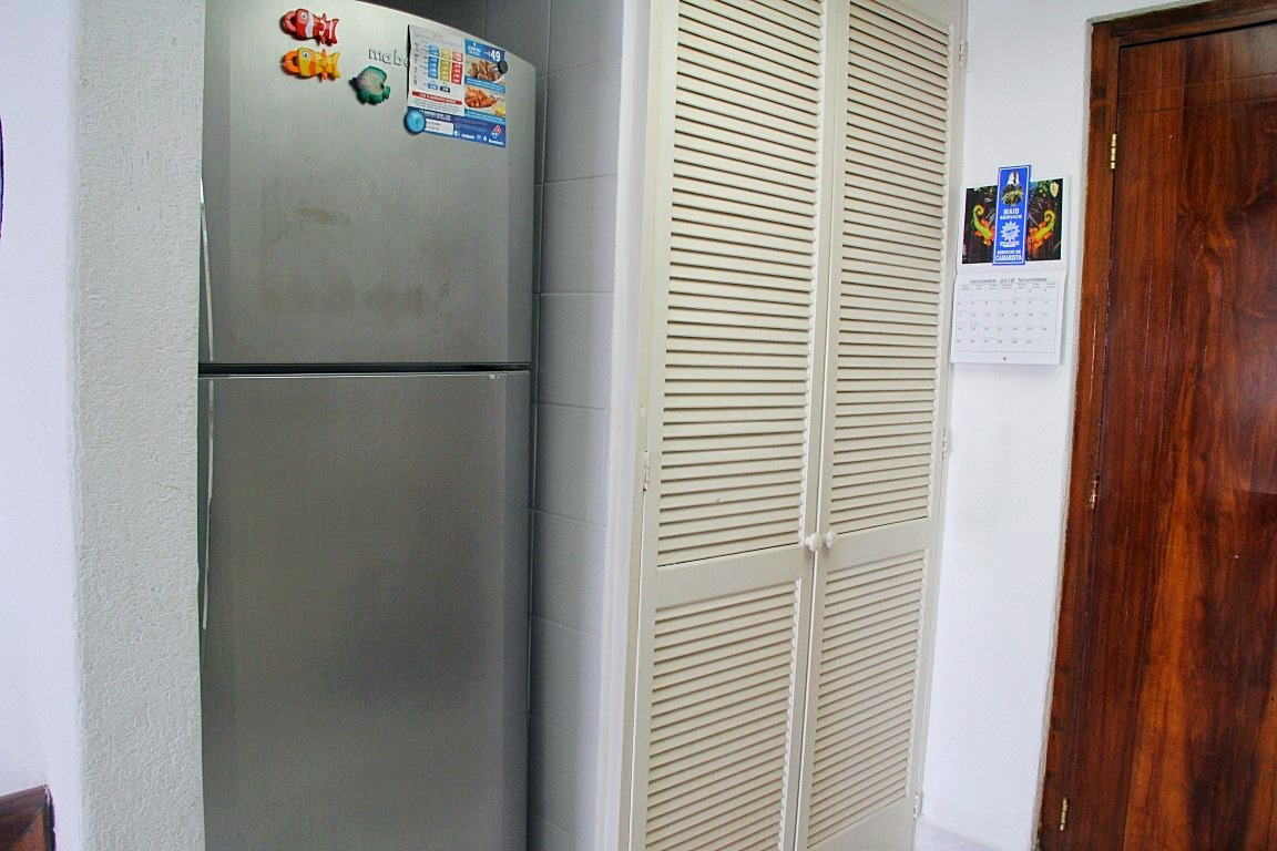 Full size fridge and pantry.