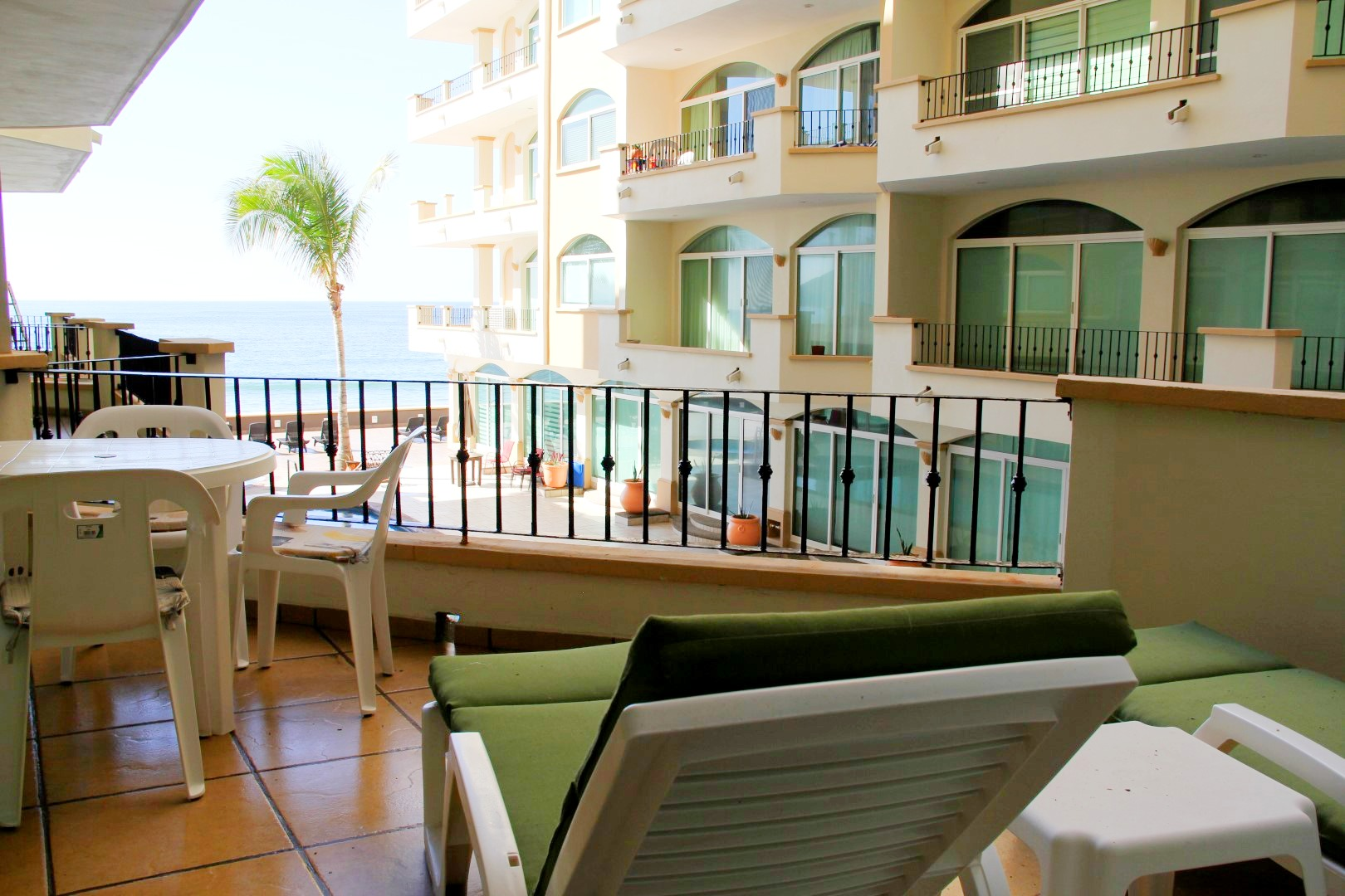 Loungers with a view on private terrace.