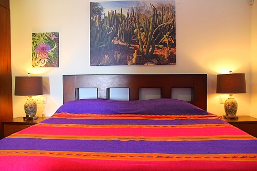 King bed in apartment bedroom.