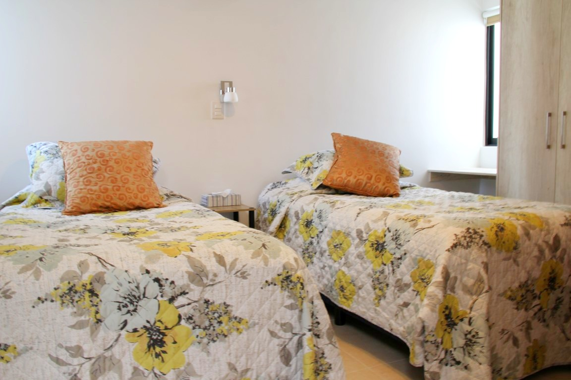2 twin beds in second room.