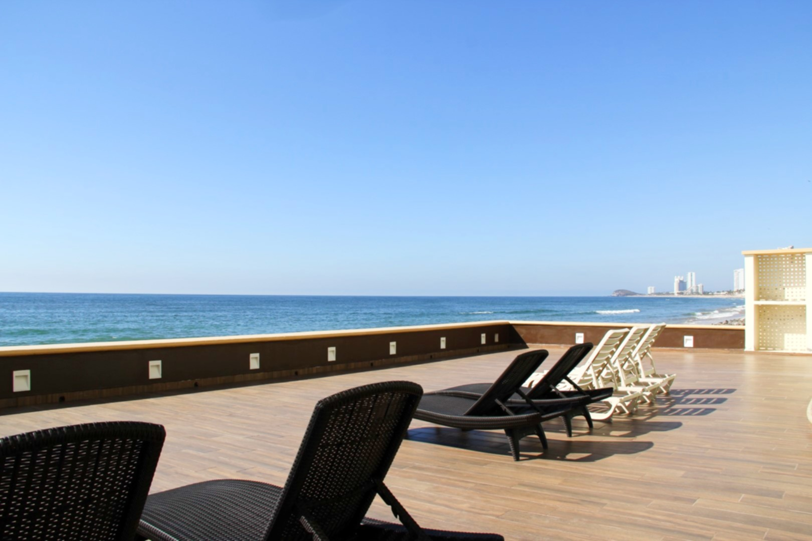 Sun deck with loungers.