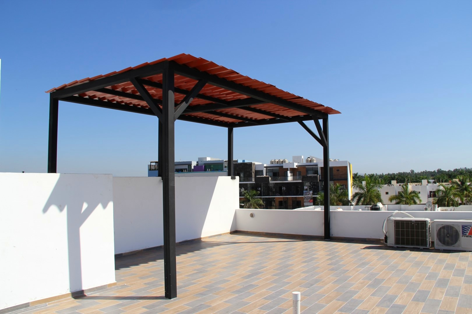 Covered roof-top area.