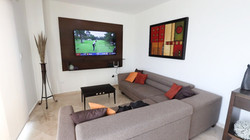 Living room with Smart TV for streaming.