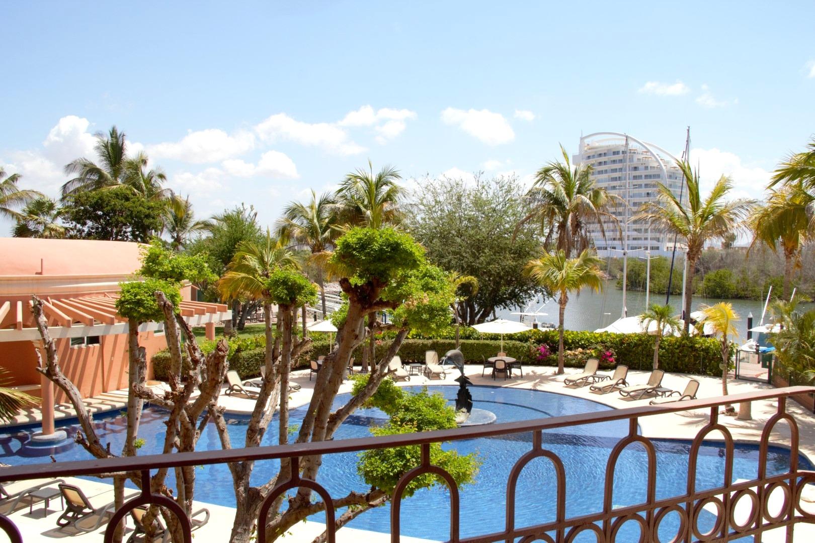Pool and marina views.