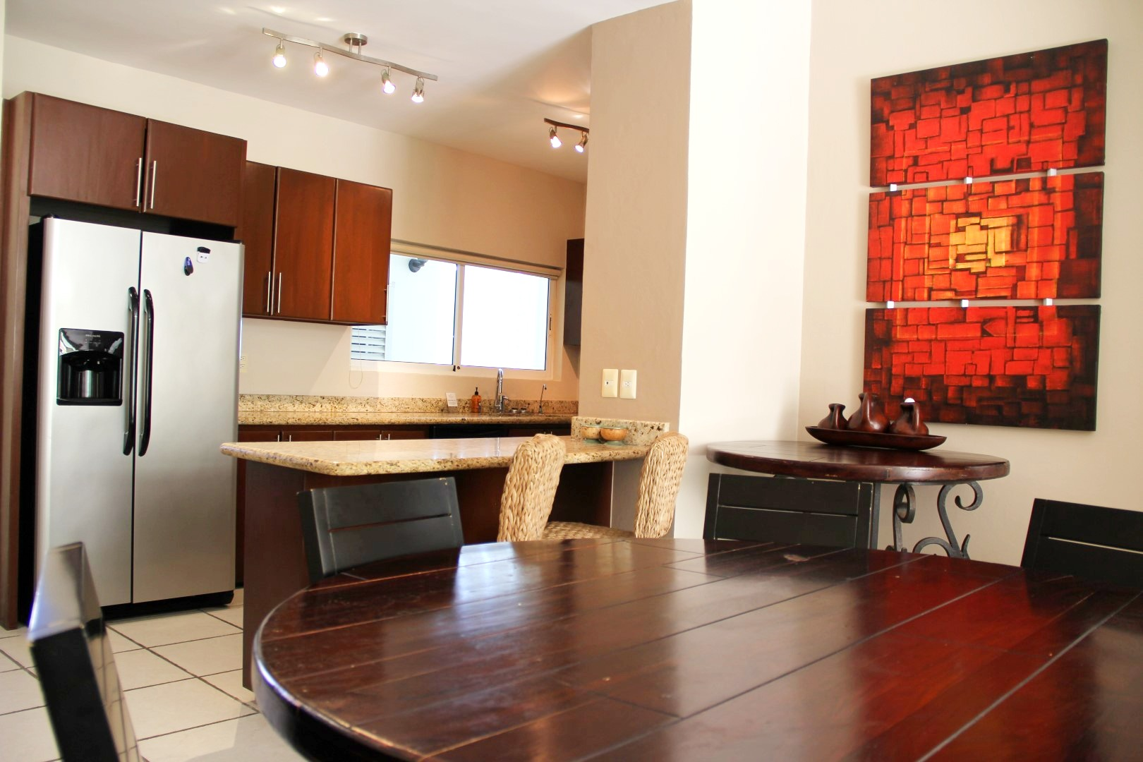 Open kitchen and dining areas.