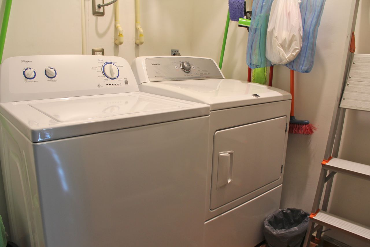 En-suite washer and dryer.