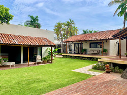 Expansive private yard with lush plant-life.