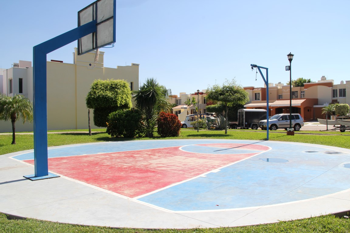 Basketball net and mini court.