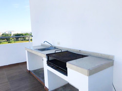 Grilling station and sink.