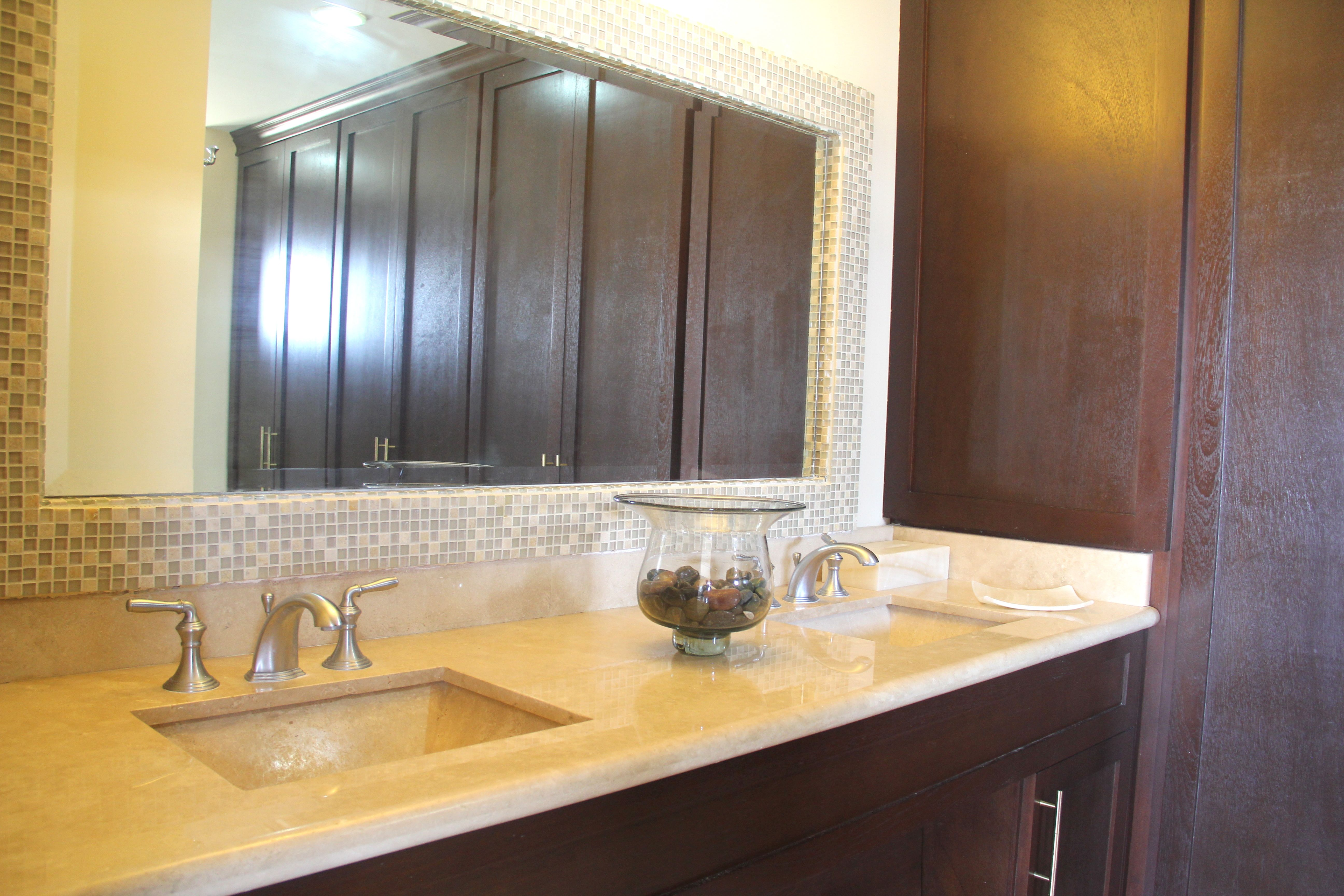 His and hers sinks in master bath.
